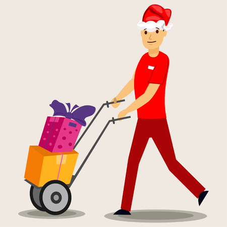Delivery man in a red Santa hat and gift box. Vector Christmas illustration isolated on background.