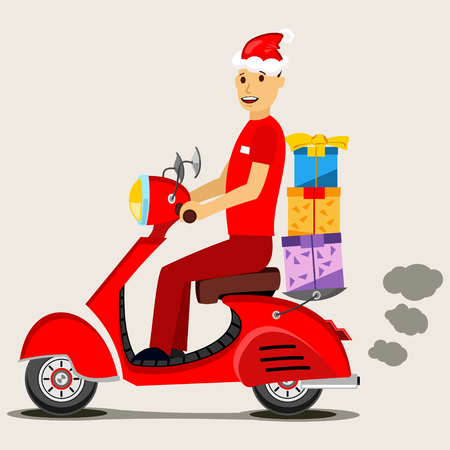 Delivery man in red Santa hat on a scooter and a gift box. Vector Christmas illustration isolated on background.