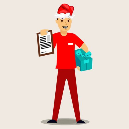 Delivery man in a red Santa hat and gift box. Vector Christmas illustration on background. Illustration