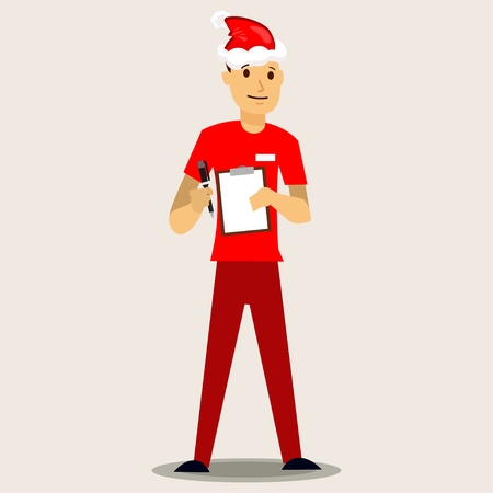 Delivery man in a red Santa hat with paper clipboard. Vector Christmas illustration isolated on background.