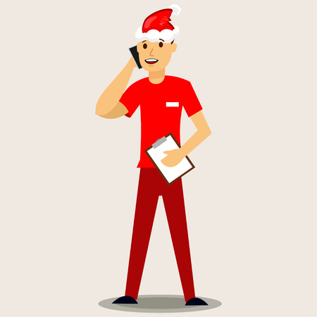 Delivery man in a red Santa hat with mobile phone. Vector Christmas illustration isolated on background.
