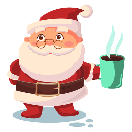 Święty Mikołaj pije kawę. Postać z kreskówki wektor na białym tle. Ilustracje wektorowe