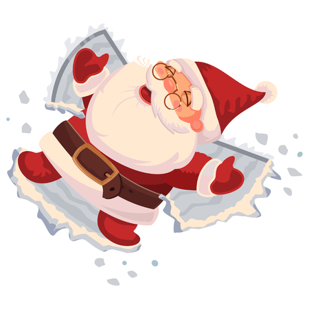 Santa Claus makes a snow angel. Vector cartoon character isolated on white background. Stock Illustratie