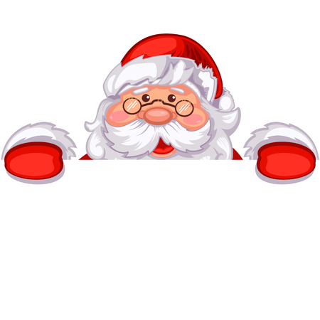 Santa Claus holding a white blank sign for your text. Cartoon vector illustration isolated.