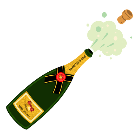 Champagne bottle explosion. Vector cartoon illustration isolated on white background. Illustration
