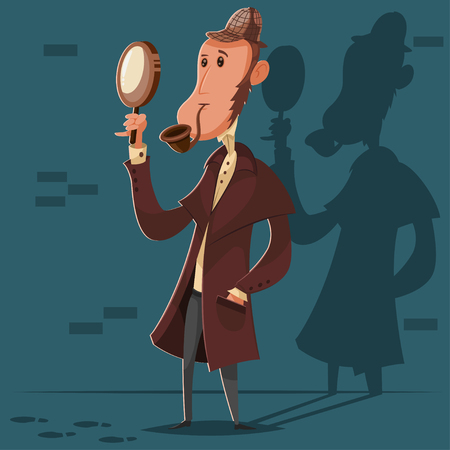 Detective in a hat with a smoking pipe and a magnifying glass. Vector cartoon character of a male investigator.