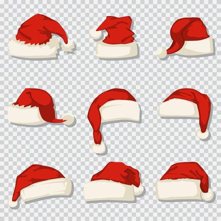 サンタ クロース帽子セットは、透明な背景に分離します。ベクトル漫画のアイコン クリスマス装飾的な要素。  イラスト・ベクター素材