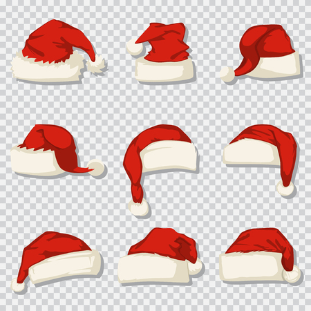 Santa Claus hat set isolated on a transparent background. Vector cartoon icons of Christmas decorative elements.