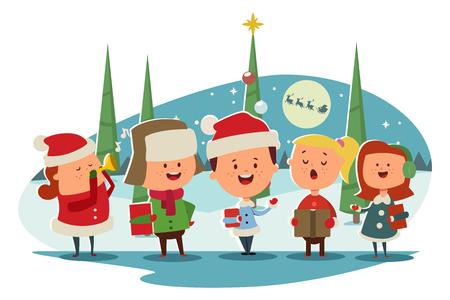 クリスマス キャロリング。かわいい子供たちの合唱団は、キャロルを歌って。冬の風景のベクター漫画イラスト。  イラスト・ベクター素材