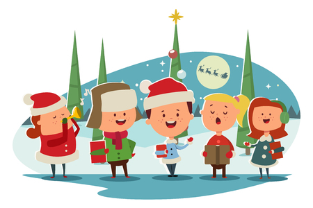 Christmas Caroling. Cute children choir singing carols. Vector cartoon illustration on a winter landscape.