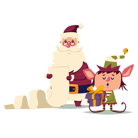Santa Claus and the elf read a long checking list. Vector cartoon Christmas character isolated on white background.