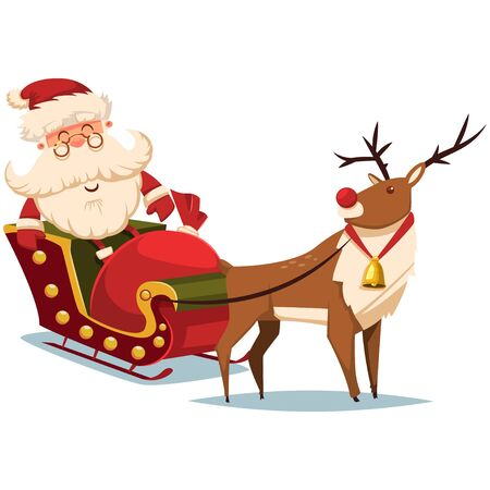 Cute Santa Claus in a sleigh with reindeer and gift sack. Vector Christmas illustration. Illustration