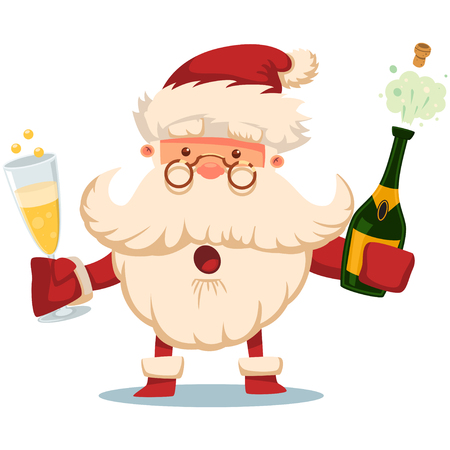 Cute Santa Claus with champagne bottle explosion and glass. Vector Christmas cartoon illustration isolated on white background. Vettoriali