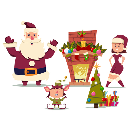 Santa Claus with a girl and an elf near the Christmas tree and a fireplace. Vector cartoon illustration isolated on white background.