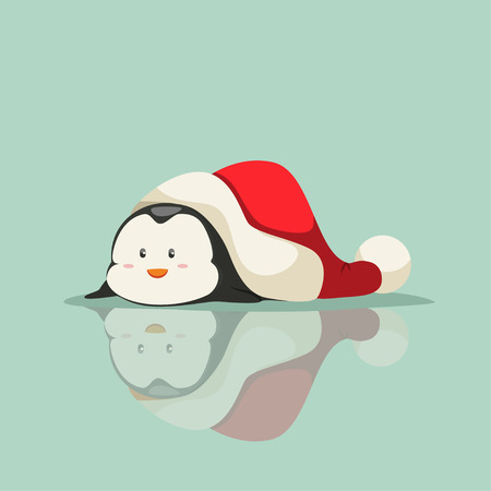 Funny baby penguin lies on the ice under the Santa Claus hat. Vector cartoon animal character. Winter illustration.