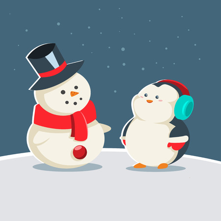 ?ute baby penguin in winter warm clothes is standing near a snowman. Vector cartoon animal character. Winter illustration.