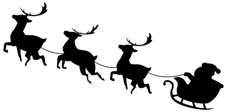 Santa Claus flying in sleigh with reindeer. Black silhouette Christmas illustration isolated on white background.