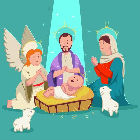 Birth baby Jesus Christmas nativity scene. Vector cute cartoon illustration. Illustration