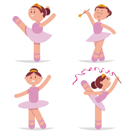 Cute ballerina dancing cartoon vector set. Little princess character isolated on white background. Illustration