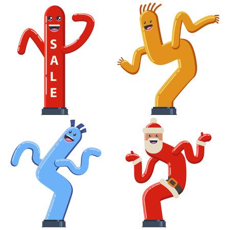 Inflatable dancing tube man vector cartoon flat set. Wacky waving air hand icons for sales and advertising. Illustration
