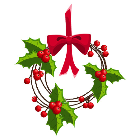 Christmas wreath of holly berry on a red ribbon and bow isolated on a white background.