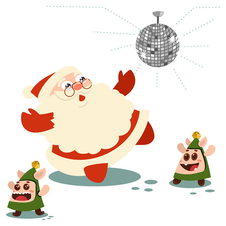 Santa Claus with elves dancing. Vector cartoon character isolated on a white background.