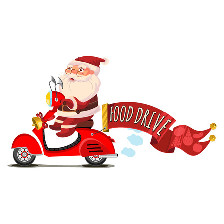 Santa Claus on a scooter with a red banner and the text