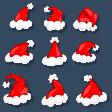 Santa hats vector set. Christmas decoration element. Cartoon illustration, isolated on a dark background.