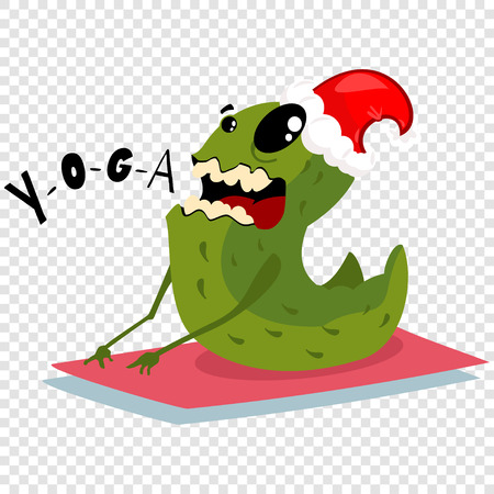 Cartoon Christmas monster in red Santa hat is engaged yoga. Vector illustration isolated on a transparent background. Stock Illustratie