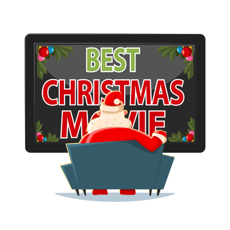 Best Christmas movies vector cartoon illustration. Santa Claus on the sofa watching TV.