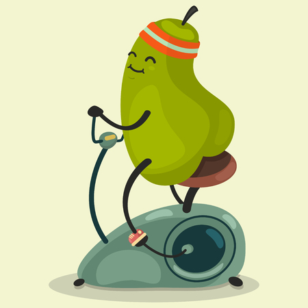 Cute Pear makes exercise on a stationary bike. Eating healthy and fitness. Retro flat concept illustration.