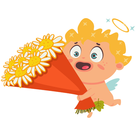 Cute cupid with a bouquet of flowers. Valentines Day symbol. Cartoon vector illustration isolated on a white background.