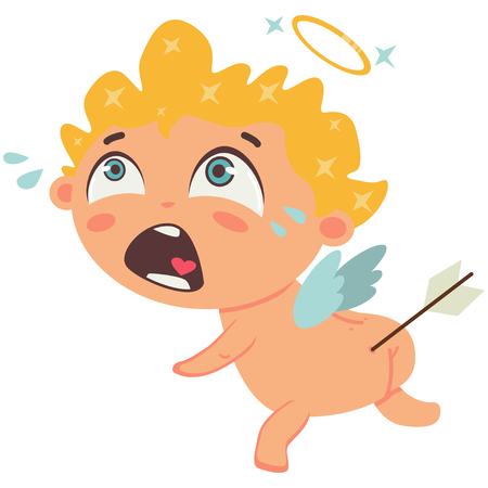 Cupid crying with arrow in the ass. Valentines Day symbol. Cartoon vector illustration isolated on a white background. Illustration