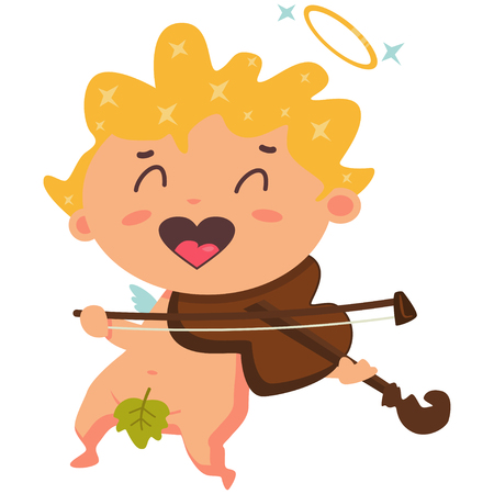 Cute cupid playing the violin. Valentines Day symbol. Cartoon vector illustration isolated on a white background. Illustration
