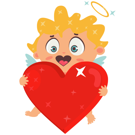 Cute cupid holding big red heart. Valentines Day symbol. Cartoon vector illustration isolated on a white background. Illustration