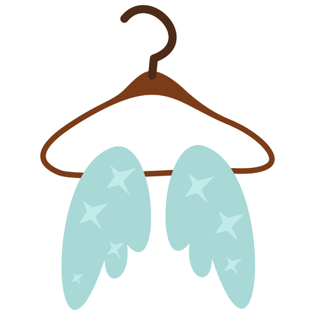 Angel wings hanging on a hanger. Cartoon vector illustration isolated on white background.