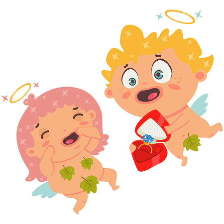 Cupid makes a proposal with a ring box. Couple angels. Valentines Day symbol. Cartoon vector illustration on a white background.