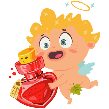 Cute cupid with a love potion. Valentines Day symbol. Cartoon vector illustration isolated on a white background.