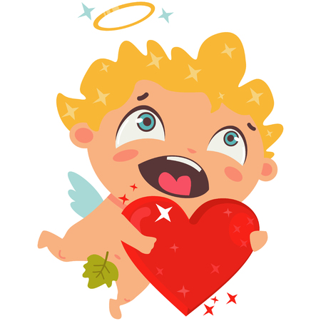 Cute cupid with red heart. Valtration isolateentines Day symbol. Cartoon vector illustration isolated on a white background.