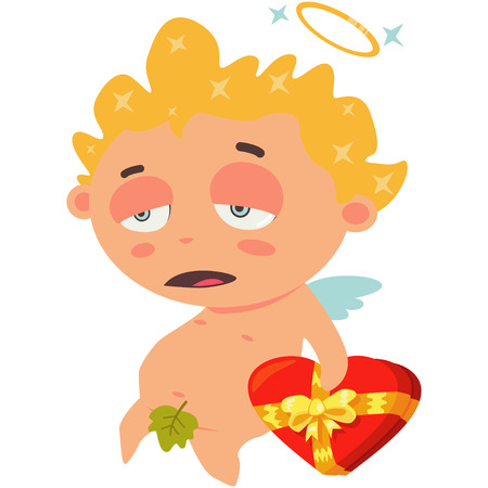 Sad cupid with a red box of chocolates in form of heart. Valentines Day symbol. Cartoon vector illustration isolated on a white background. Illustration