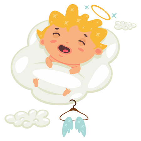 Cute cupid sleeping on a cloud. Valentine's Day symbol. Cartoon vector illustration isolated on a white background.