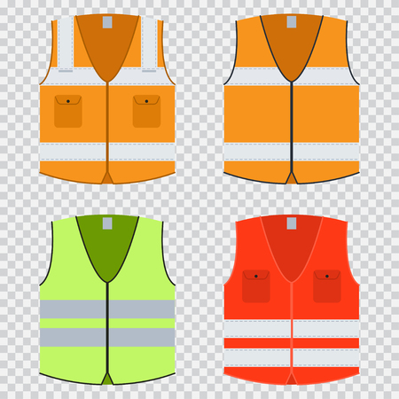Vest safety vector flat set. Vettoriali