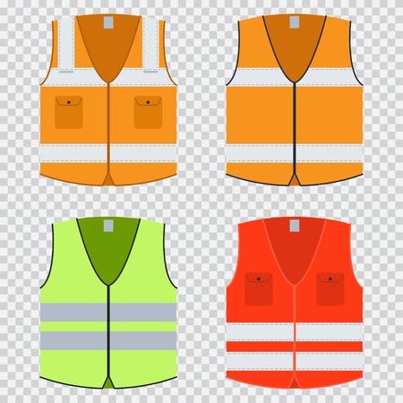 Vest safety vector flat set. Stock Illustratie