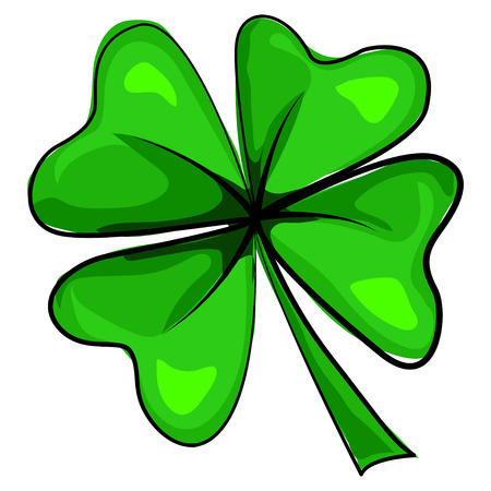 Four leaf clover icon. Vector cartoon illustration isolated on white background. Design elements for St. Patrick's Day.