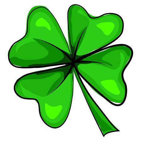 Klavertje vier pictogram. Vector cartoon illustratie op een witte achtergrond. Ontwerpelementen voor St. Patrick's Day. Vector Illustratie