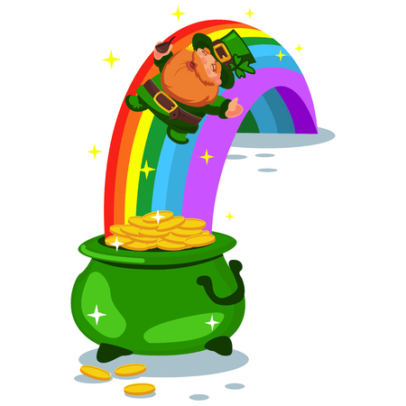 Pot of gold coins at the end of the rainbow and a leprechaun. Vector cartoon illustration for St. Patricks Day isolated on white background. Illustration