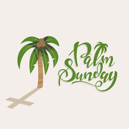 Palm Sunday handwritten text with a tree with coconuts and a shadow in the form of a cross. Christian holiday greeting card design. Vettoriali