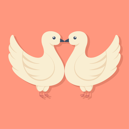 Two doves kissing. Vector cartoon flat icon of enamored birds.