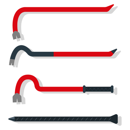 Crowbar tool in different forms. Vector cartoon set of flat icons isolated on a white background.
