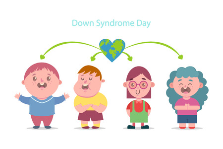 Down Syndrome Day. Vector cartoon flat illustration of children with disabilities. Character boys and girls isolated on white background. Vectores